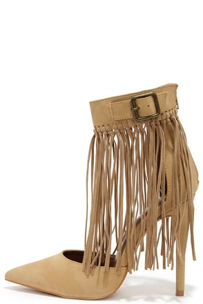 Fringe by Fringe Tan Pointed Heels at Lulus.com!