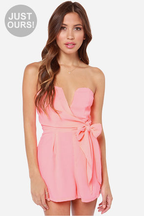 LULUS Exclusive Tie it all Together Neon Coral Romper