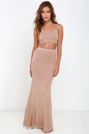 Fair to Slay Taupe Two-Piece Maxi Dress at Lulus.com!