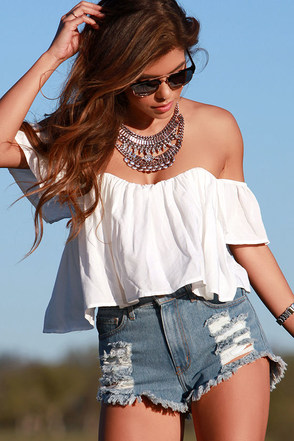 Road Traveler White Crop Top