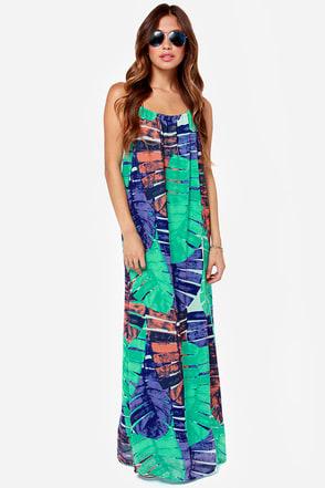 Cute Print Dress Maxi Dress Green Dress 65 00