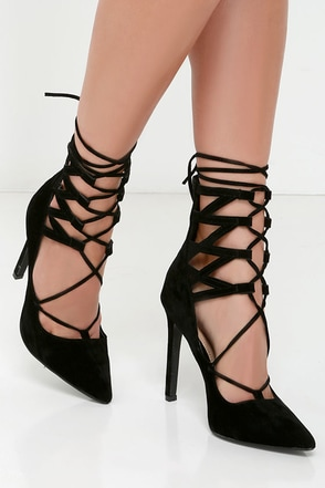 All Shook Up Black Suede Lace-Up Heels at Lulus.com!