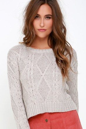 Obey Atherton Light Grey Cropped Cable Knit Sweater at Lulus.com!