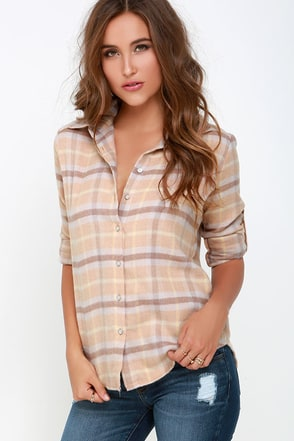 White Crow Harvest Moon Beige Flannel Top at Lulus.com!