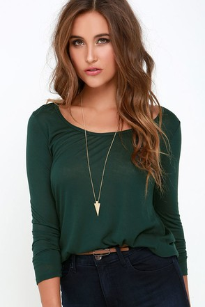 Obey Lauryn Dark Green Long Sleeve Top at Lulus.com!