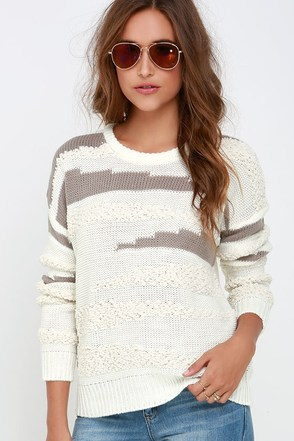Obey Findon Cream and Taupe Sweater at Lulus.com!