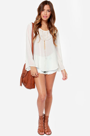 Chances Are Embroidered Ivory Top