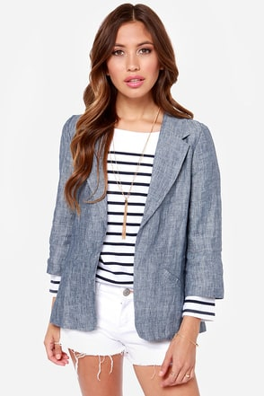 Cham-Brace Yourself Blue Chambray Blazer