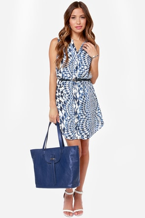 Oh Em Geode Blue Print Dress