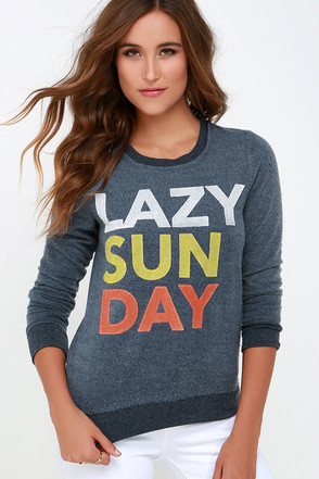 Chaser Lazy Sunday Denim Blue Sweater at Lulus.com!