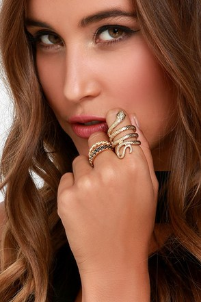 Goodnight Hiss Gold Ring Set at Lulus.com!