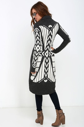 White Crow Gabby Grey Print Cardigan Sweater at Lulus.com!