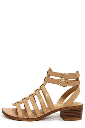 City Classified Tab Taupe Caged Sandals at Lulus.com!