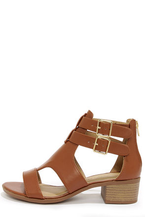 City Classified Cruz Dark Tan Caged Sandals
