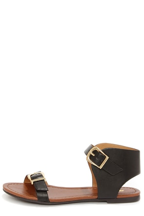Soda Klim Black Ankle Cuff Sandals