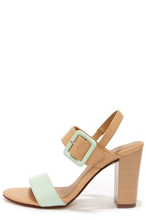 City Classified Care Mint and Natural High Heel Sandals