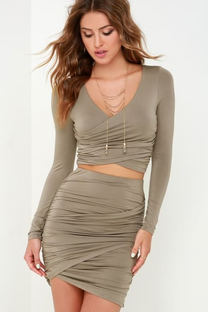 Nice Two Know You Taupe Two-Piece Dress at Lulus.com!