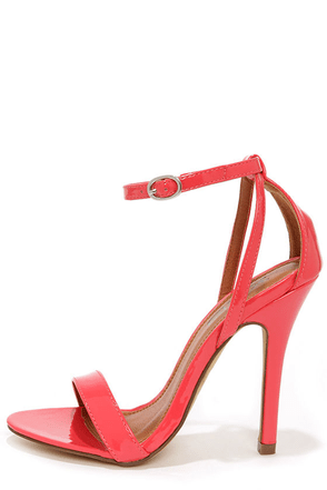 Lola 1 Coral Patent Ankle Strap Heels