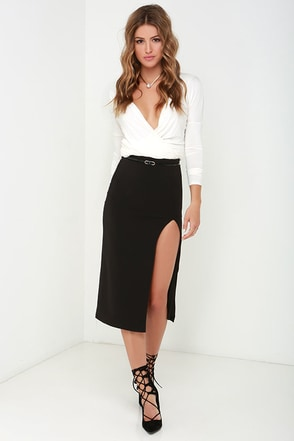 Classic Example Black Midi Skirt at Lulus.com!