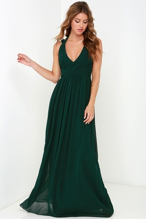 Strike a Minerva Dark Green Maxi Dress at Lulus.com!