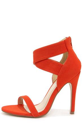 Lupid 4 Orange Nubuck Ankle Strap Heels