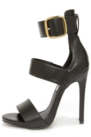Steve Madden Mysterii Black Ankle Strap Dress Sandals