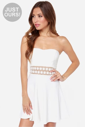 LULUS Exclusive Worth the Waist Ivory Strapless Dress