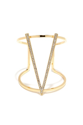Of V I Sing Gold Rhinestone Cuff Bracelet at Lulus.com!