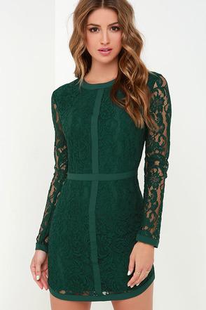 Sweet as Sugar Dark Green Long Sleeve Lace Dress at Lulus.com!