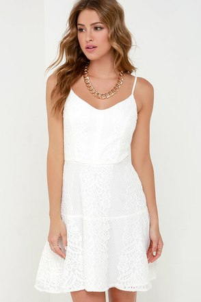Glimmer of Glamour Ivory Lace Dress at Lulus.com!