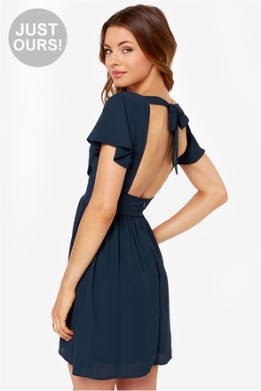 LULUS Exclusive Whatever You Sway Navy Blue Dress