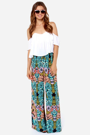 Out of the Bloom Navy Blue Floral Print Pants