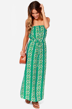 Collective Concepts Strapless is More Green Print Maxi Dress