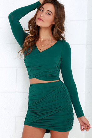 Nice Two Know You Forest Green Two-Piece Dress at Lulus.com!