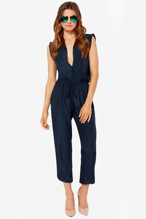Collective Concepts Great Idea Navy Blue Jumpsuit