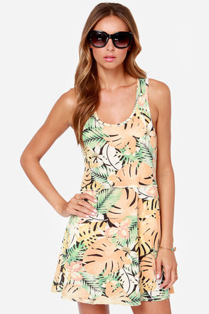 Obey Sixto Peach Tropical Print Dress