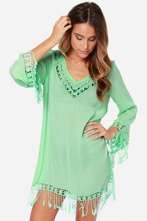 Life's a Beach Mint Green Crocheted Cover-Up