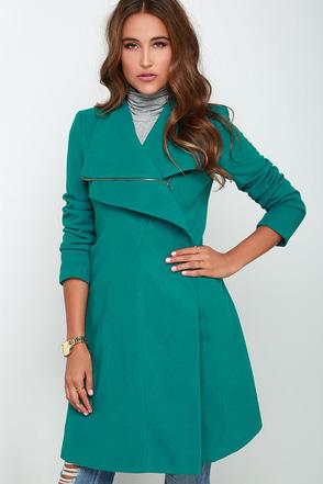Fashion Finder Teal Coat at Lulus.com!