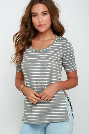 Leave the Elite On Grey and White Striped Tunic Top at Lulus.com!