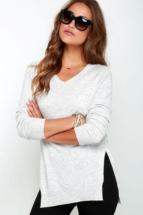 Name the Day Heather Grey V Neck Sweater at Lulus.com!