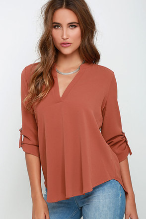 Wayfaring Wanderer Rust Orange Top at Lulus.com!
