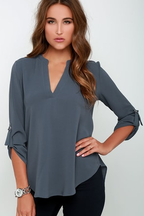 Wayfaring Wanderer Slate Blue Top at Lulus.com!