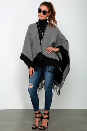 Precipice Palace Taupe and Navy Blue Poncho at Lulus.com!