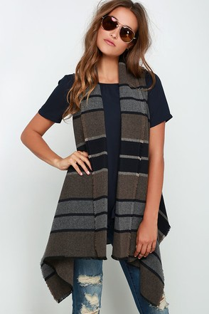 BB Dakota Duncan Brown Striped Vest at Lulus.com!