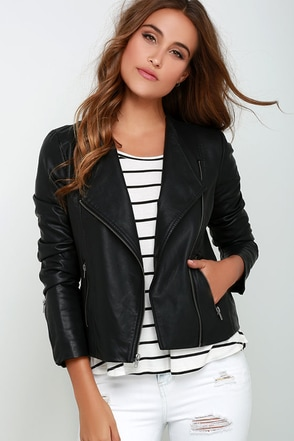 BB Dakota Rylan Black Vegan Leather Jacket at Lulus.com!