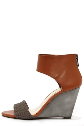 Jessica Simpson Mera Taupe and Tan Wedge Sandals