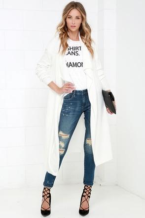 BB Dakota Tabbetha Long Ivory Sweater at Lulus.com!