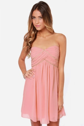 Let's Sway Blush Pink Strapless Dress