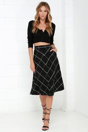 Study Partner Black Plaid Midi Skirt at Lulus.com!