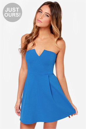 LULUS Exclusive A New Affair Strapless Blue Dress
